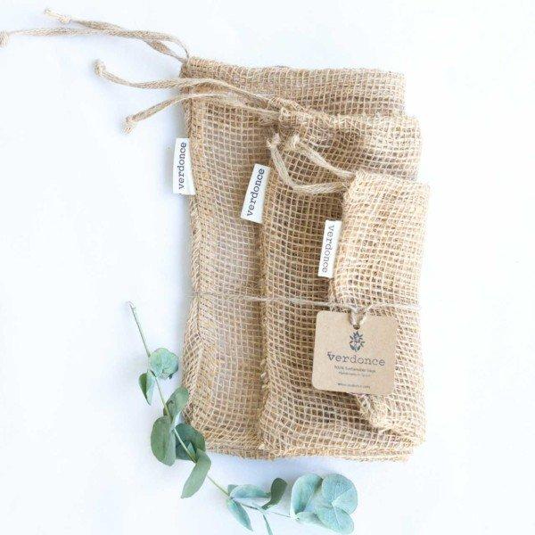 3 bolsas de tela de jute de Verdonce de tamaño pequeño, mediano y grande con rama de eucalipto y etiqueta