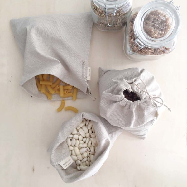 3 large recycled cotton produce bags with mason jars and dry produce