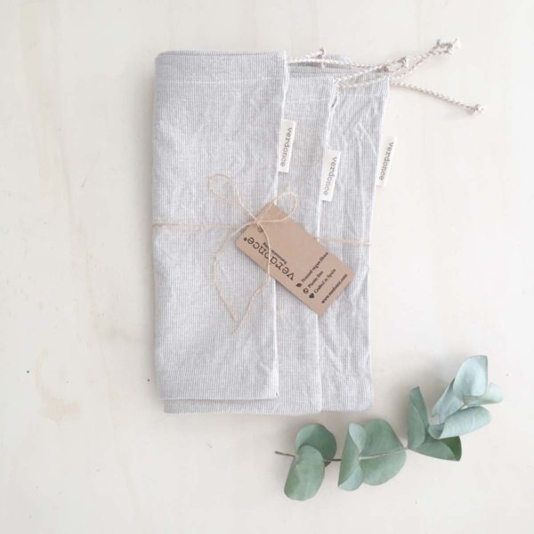 3 folded large recycled cotton produce bags