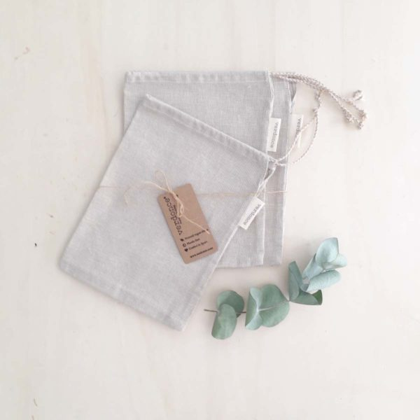 Set of 3 medium sized reusable produce bags made from recycled cotton