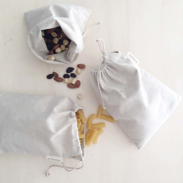pack of 3 recycled cotton produce bags containing pasta and dried fruit