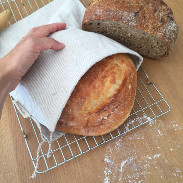 Verdonce recycled cotton produce bag with loaves of bread