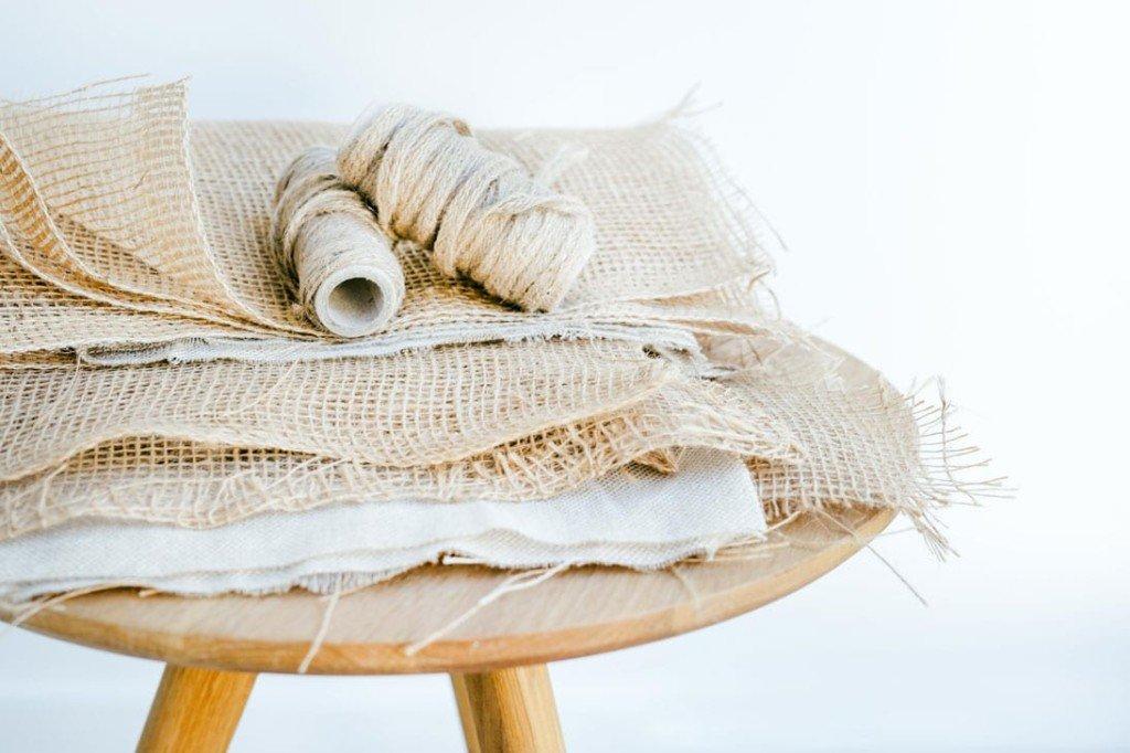 Jute mesh and jute cord used to produce Verdonce jute mesh produce bags