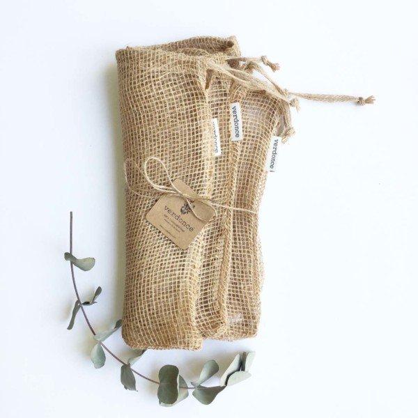 3 large natural jute fibre zero waste produce bags