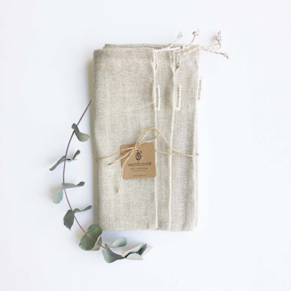 three reusable cotton produce bags