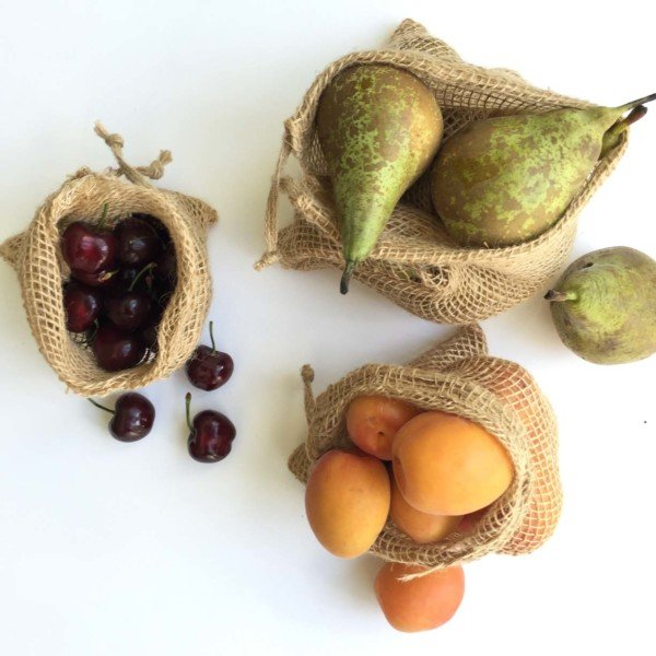 plastic free bags for produce shopping with fruit