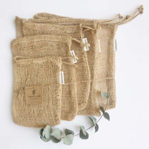 set of 5 natural jute fibre zero waste produce bags