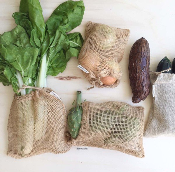 jute mesh produce bags with veggies for zero waste shopping