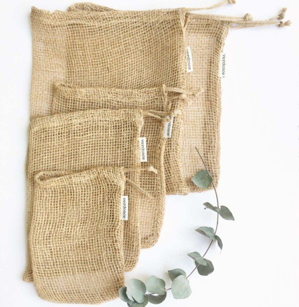 5 jute mesh produce bags for zero waste shopping