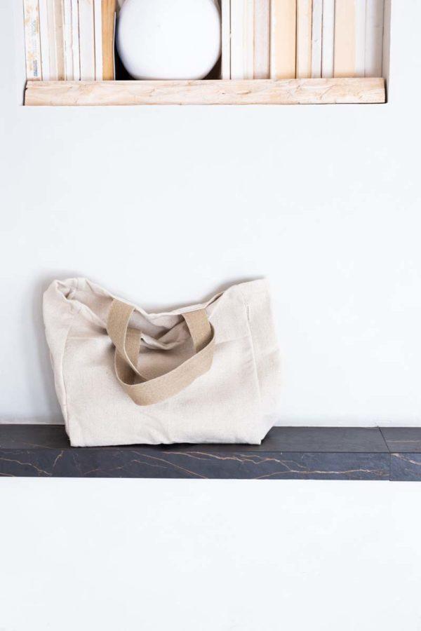 tote bag with hemp straps on slate shelf