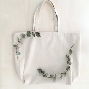 Minimalist canvas tote bag with leaves