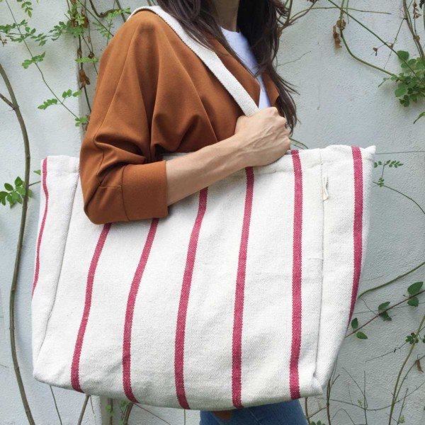 Deep red stripes sustainable tote