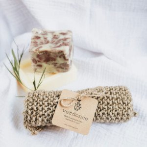 Natural jute scrubbing cloth with soap