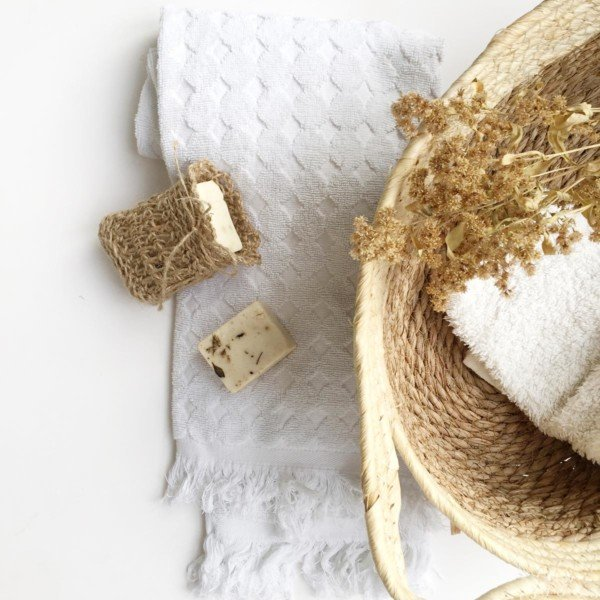 Zero waste soap bag with basket and towel