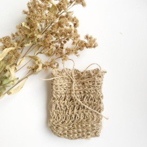 natural jute soap bag with dried flowers