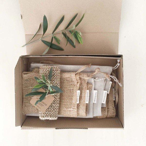 boxed natural fibre reusable bags