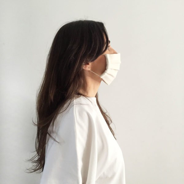 Side shot of female wearing Verdonce reusable face mask