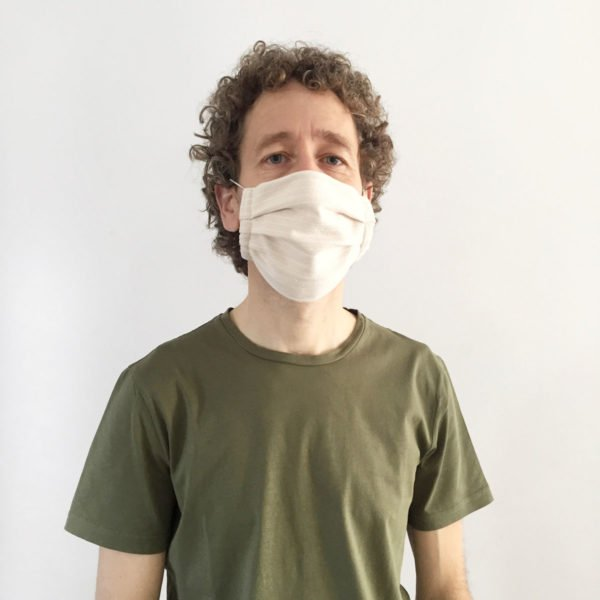 Male wearing recycled cotton face mask by Verdonce