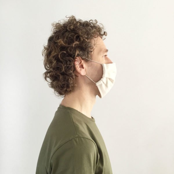 Side shot of male wearing reusable Verdonce face mask