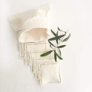Reusable makeup remover pads with bag and olive twig