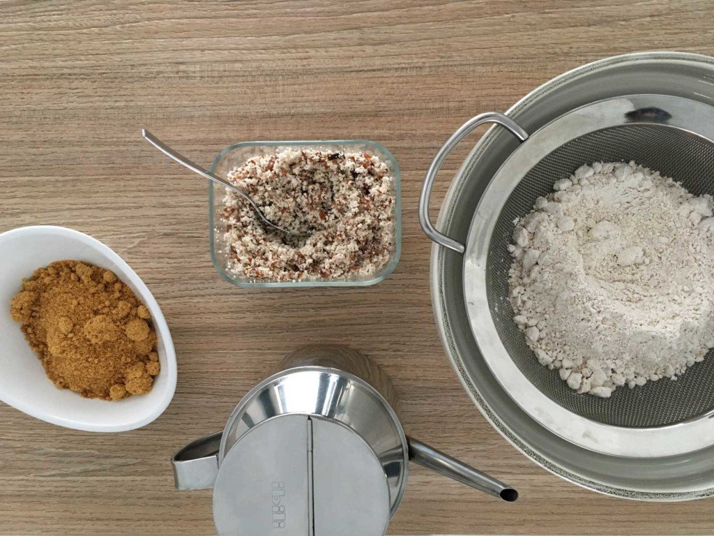 Ingredients for making vegan banana and almond bread