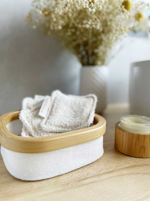 Verdone reusable facial pads in a basket in bathroom