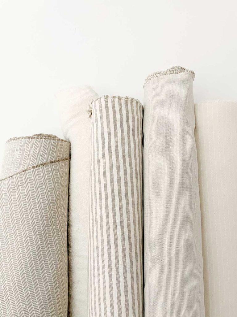 Rolls of recycled cotton fabric at Verdonce workshop