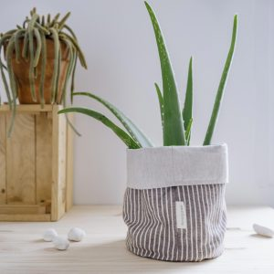 Verdonce recycled cotton basket in almond and natural stripes colour holding an aloe vera plant