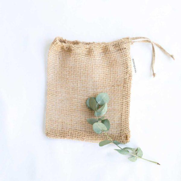 Bolsa de tela de yute Verdonce con rama de eucalipto