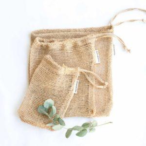 3 bolsas de tela de jute de Verdonce de tamaño pequeño, mediano y grande