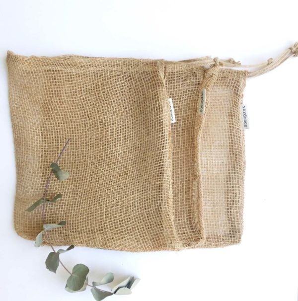 Bolsas de tela de jute natural para la compra a granel de frutas y verduras de Verdonce