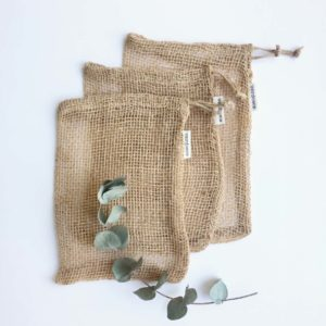 3 medium jute mesh sustainable produce bags by verdonce