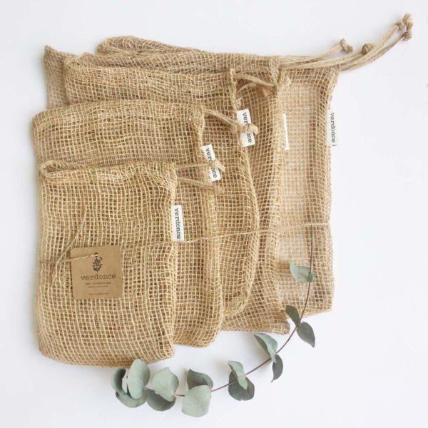 bolsas de red para compra de fruta a granel de tela de yute