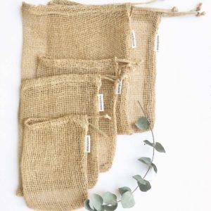 5 bolsas de malla de tela de yute para la compra de alimentos sin plástico