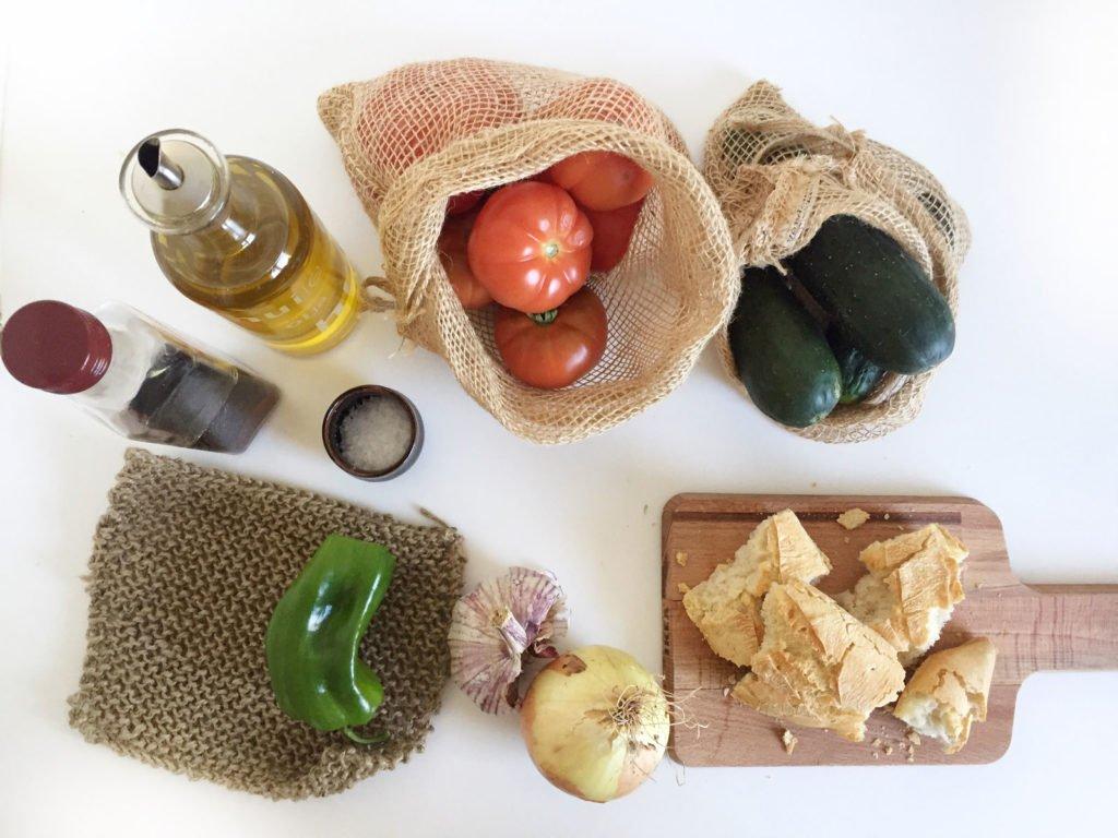 Ingredientes para hacer gazpacho zero waste