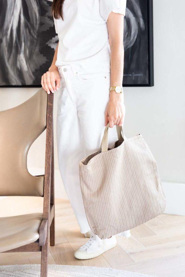 Bolso de verdonce con asas de cáñamo en color beige