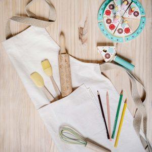 Delantal eco junior verdonce con utensilios de cocina