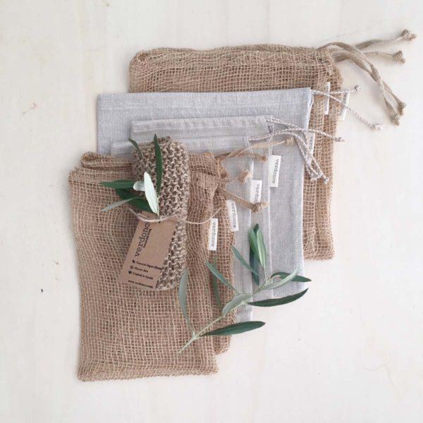 Conjunto de bolsas de compra a granel verdonce con estropajo de yute natural