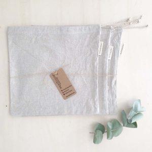 Juego de tres bolsas de tela de algodón reciclado para la compra a granel