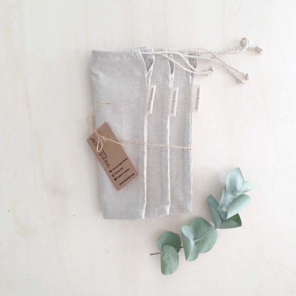 Tres bolsas reutilizables para la compra a granel hechos de algodón reciclado de Verdonce