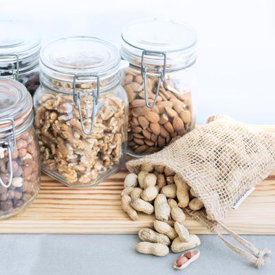Jaras herméticas, bolsa de red de yute y frutos secos