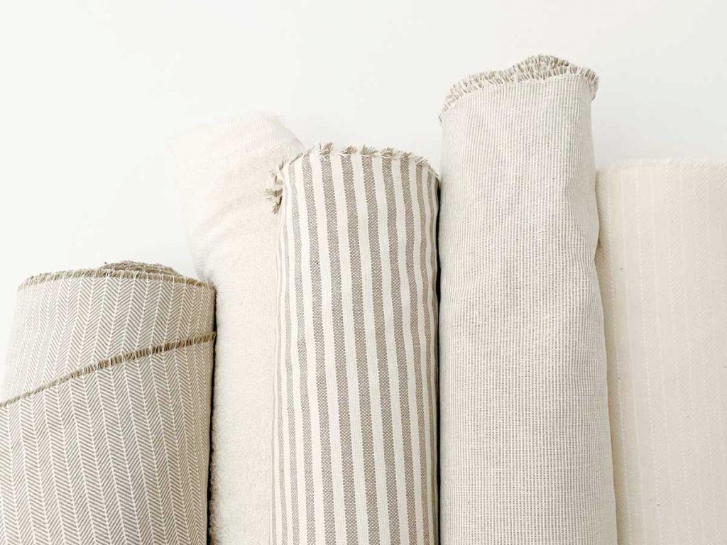 Rollos de algodón reciclado GRS en taller Verdonce