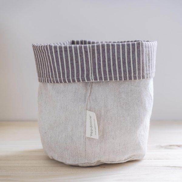 Cesto eco Verdonce de algodón reciclado color almendra-avena reversible tela interior