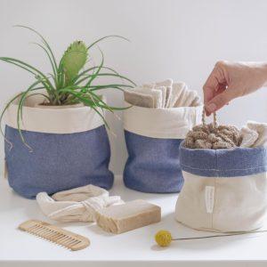 Juego de tres cestos de algodón denim 100% reciclado de verdonce con productos de baño zero waste